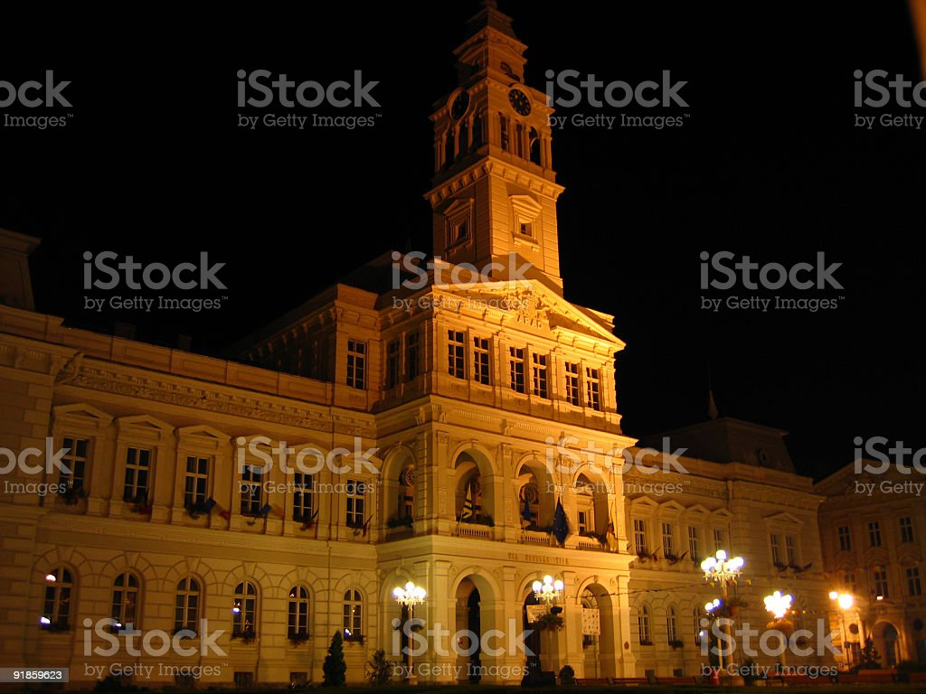 Night Town Hall 2 - Arad, Romania stock photo