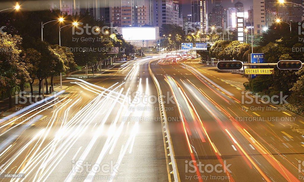 night traffic at shenzhen royalty-free stock photo