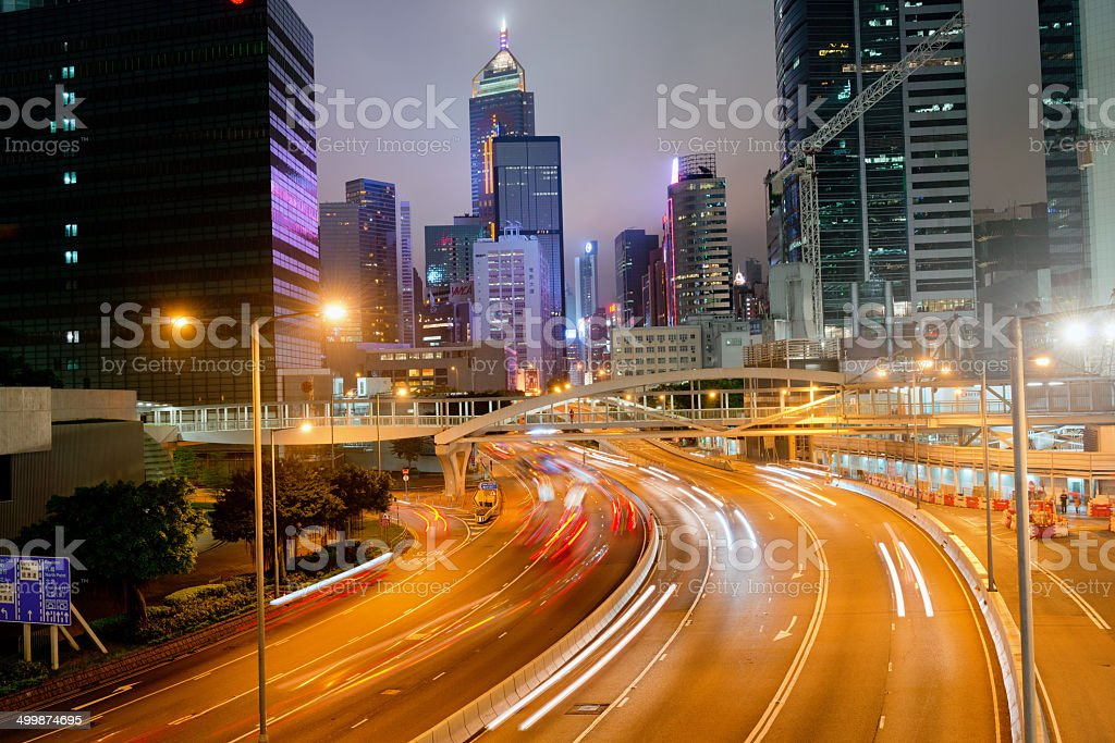 Night Traffic Hong Kong Island, China stock photo