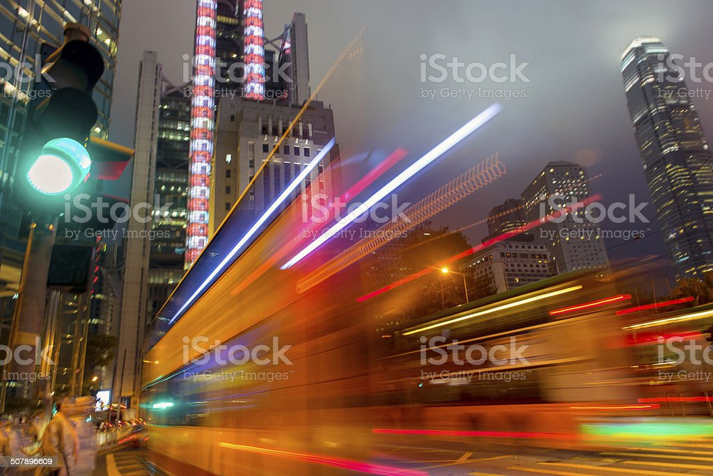 Night Traffic Hong Kong Island, China stock photo