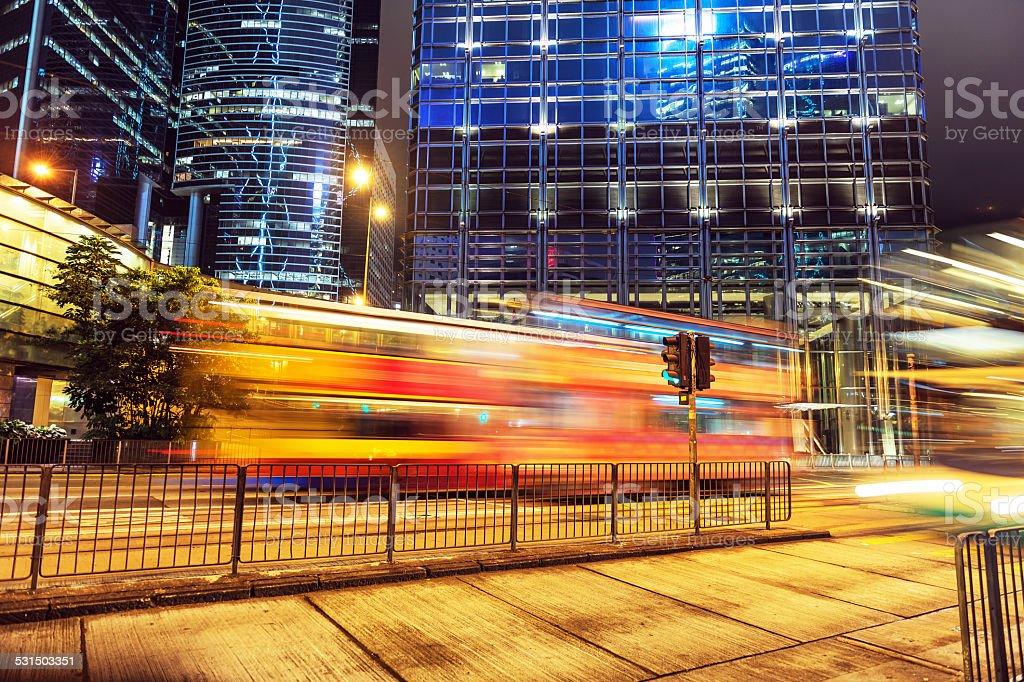 Night Traffic Hong Kong Island, China South Asia stock photo
