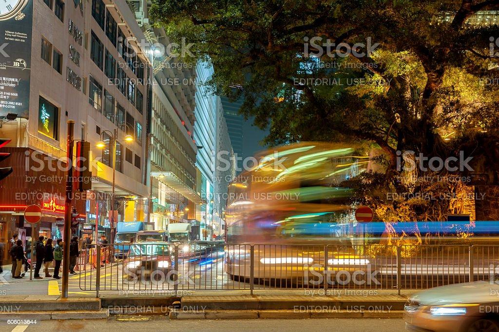 Night Traffic Hong Kong Island,  South Asia,  China stock photo