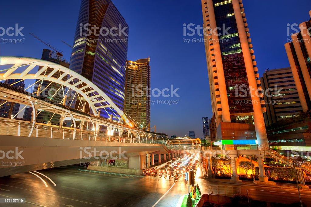 Night Traffic in Bangkok, Thailand stock photo