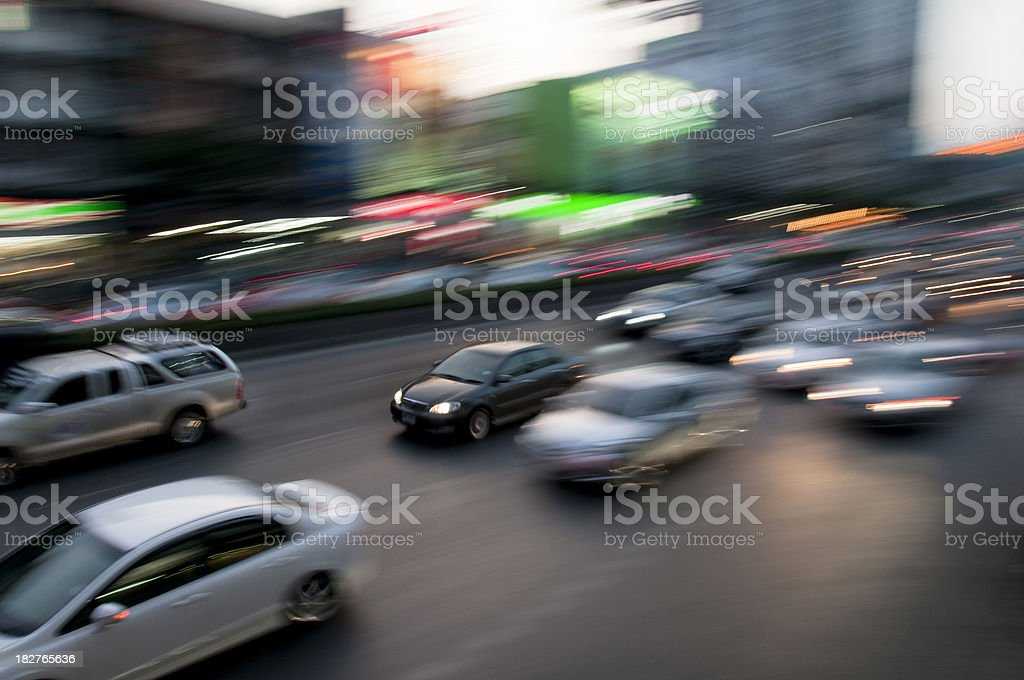 Night Traffic In Bangkok, Thailand royalty-free stock photo