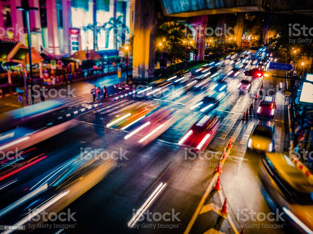Night traffic in Bangkok Thailand stock photo