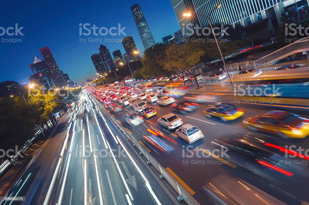 Night traffic in Beijing stock photo