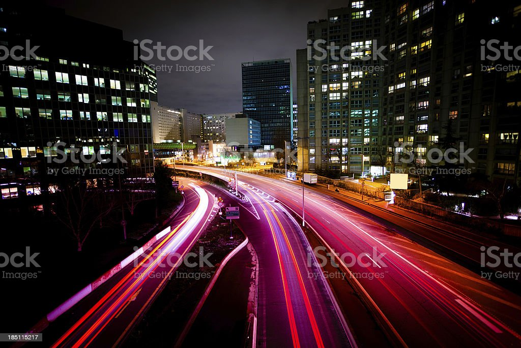 Night Traffic in City Financial District, Paris royalty-free stock photo