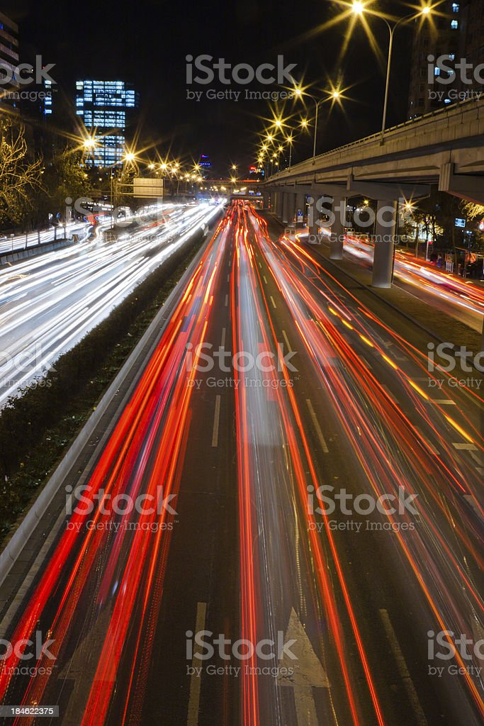 Night traffic in city royalty-free stock photo