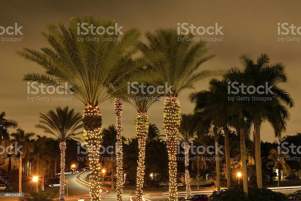 Night traffic in Coral Gables stock photo