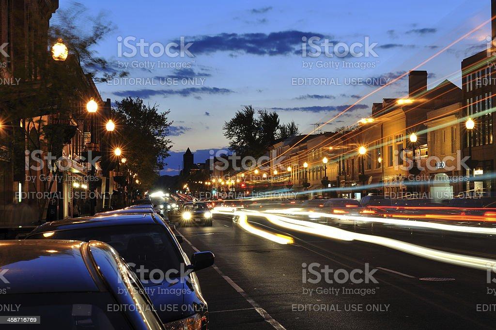 Night traffic in Georgetown of Washington DC stock photo