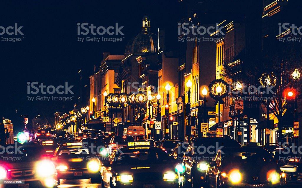 Night traffic in Georgetown, Washinhton DC. stock photo