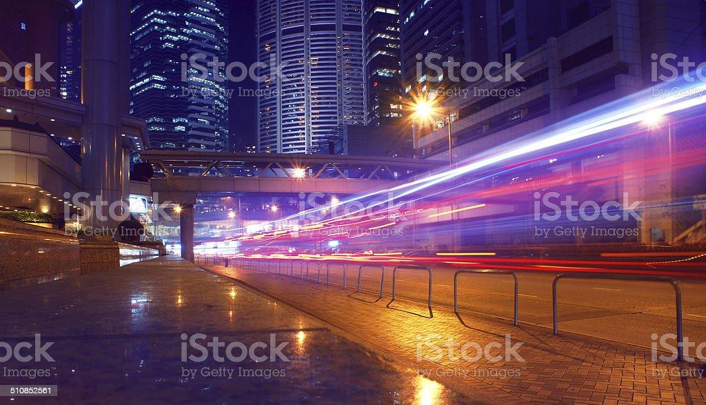 Night traffic in Hong Kong stock photo
