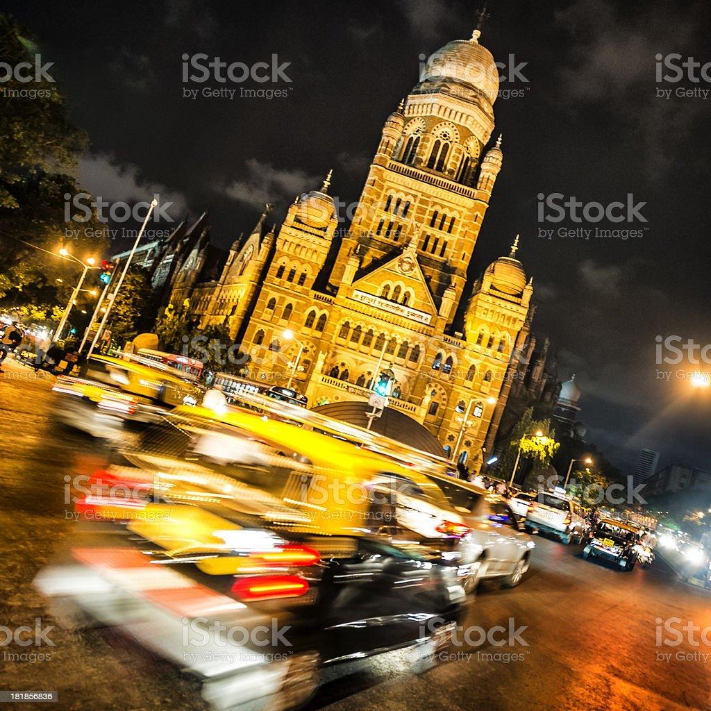 Night traffic in Mumbai stock photo