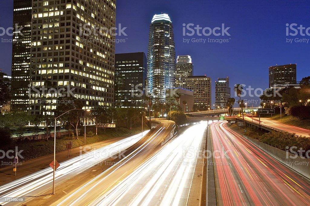 Night Traffic in LA royalty-free stock photo