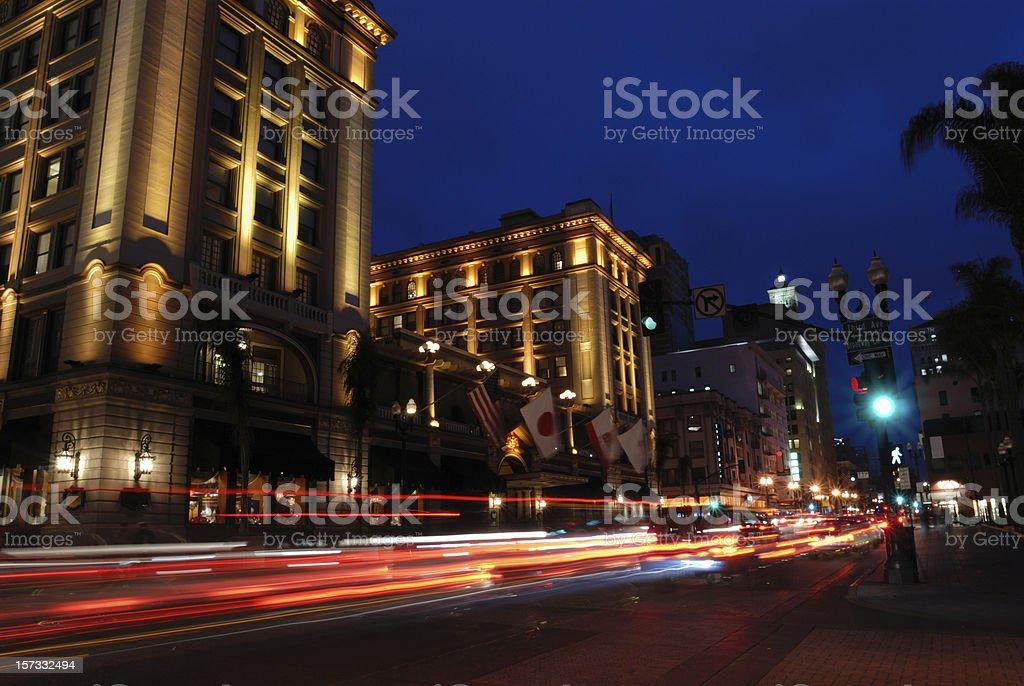 Night Traffic in San Diego royalty-free stock photo