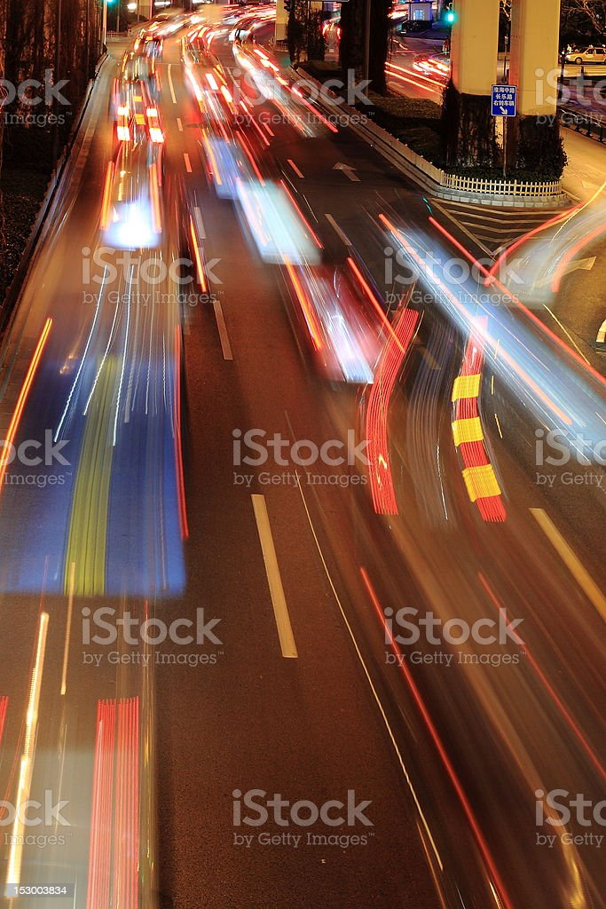 night traffic in Shanghai royalty-free stock photo