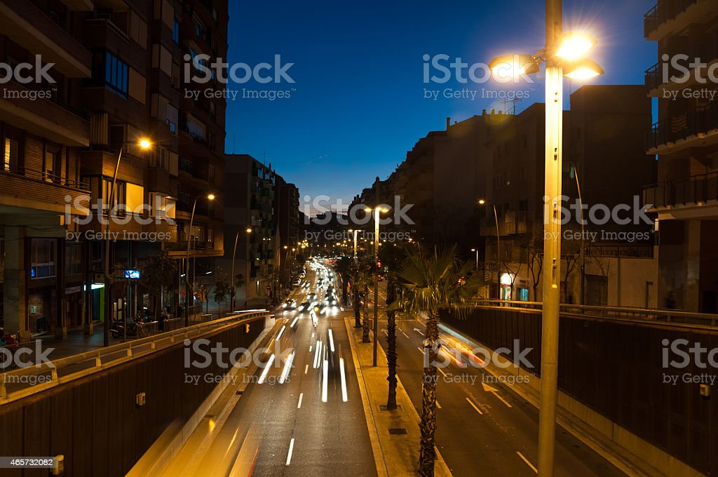 Night traffic in the city, barcellona stock photo