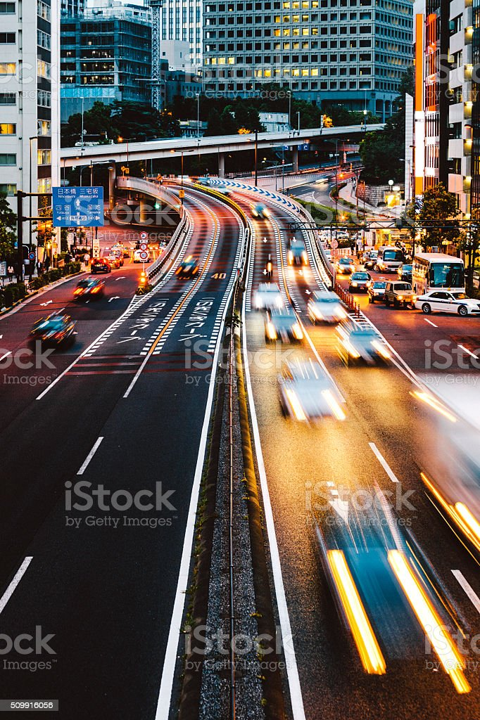 Night traffic in the city. Tokyo. stock photo