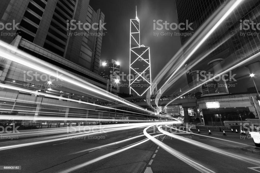 Night traffic in Urban stock photo
