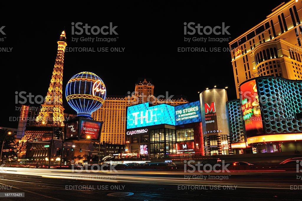 Night Traffic in Vegas stock photo