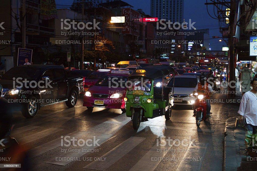 Night traffic jam royalty-free stock photo