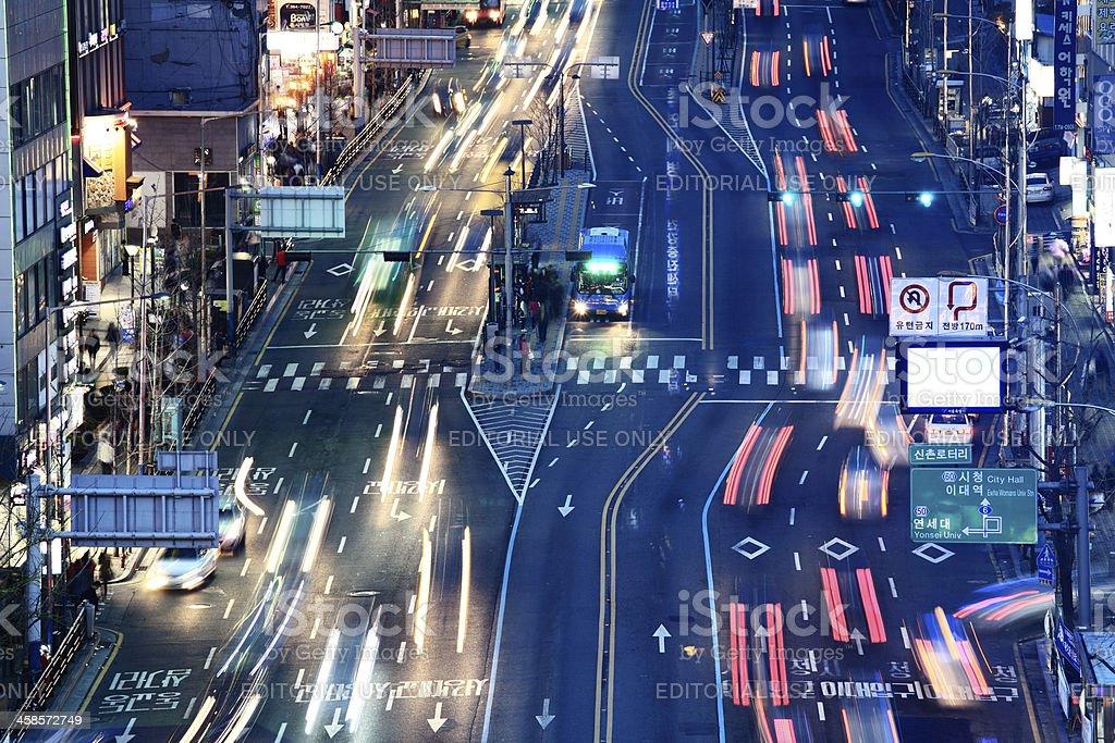 Night Traffic Korea royalty-free stock photo