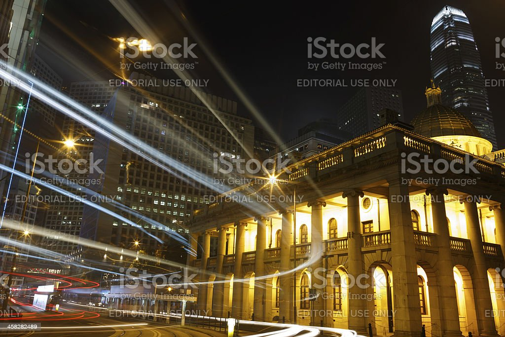 Night Traffic Legislative Council Building Hong Kong royalty-free stock photo