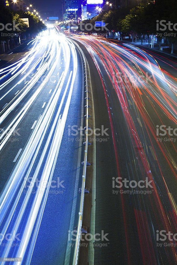 Night traffic light on big city royalty-free stock photo