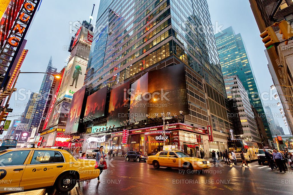 Night traffic nearby Times square, New York, Midtown, Manhattan stock photo