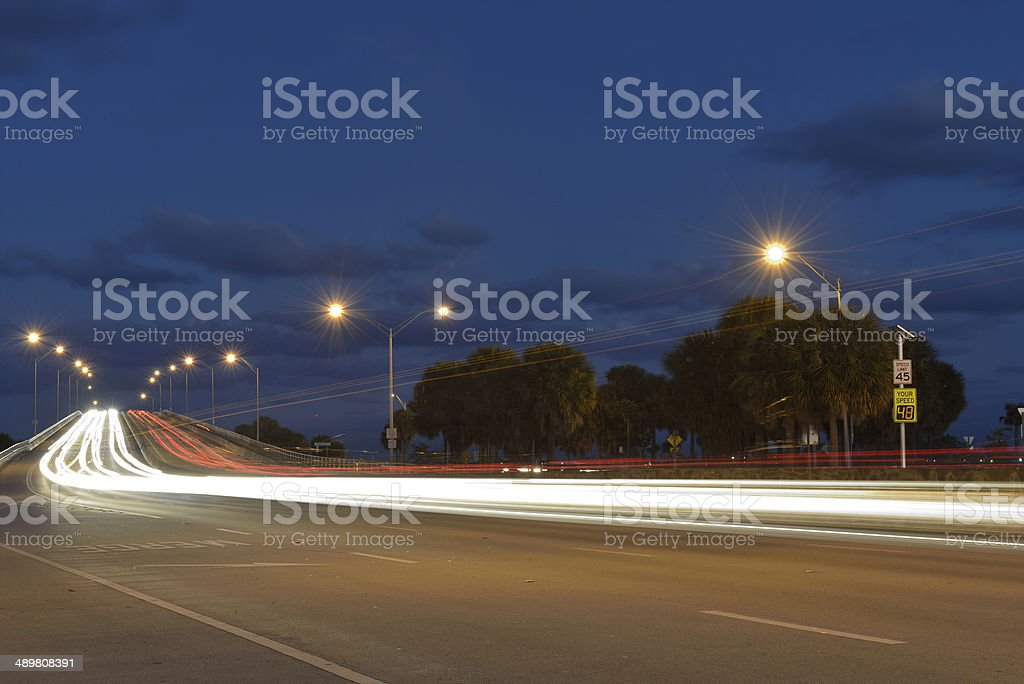 Night Traffic on Rickenbacker Causeway stock photo
