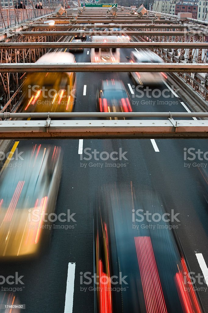 night traffic on the Brooklyn Bridge royalty-free stock photo