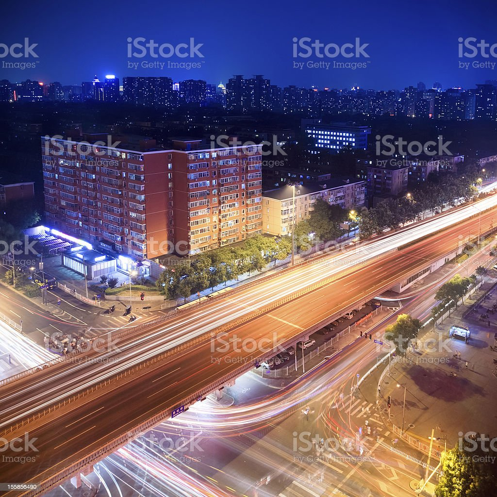 night traffic on the viaduct royalty-free stock photo
