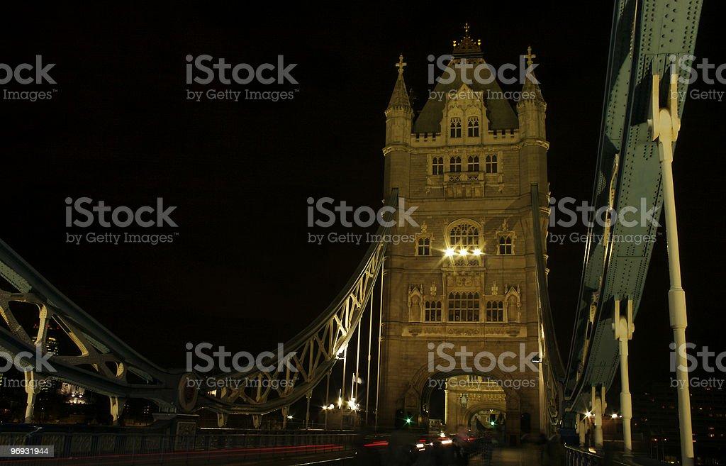 Night traffic on tower bridge stock photo