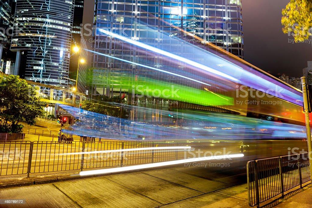 Night Traffic ,people ,Hong Kong Island, China, South Asia stock photo