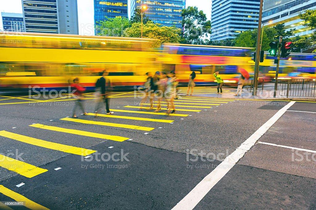 Night Traffic ,people,Hong Kong Island, China stock photo