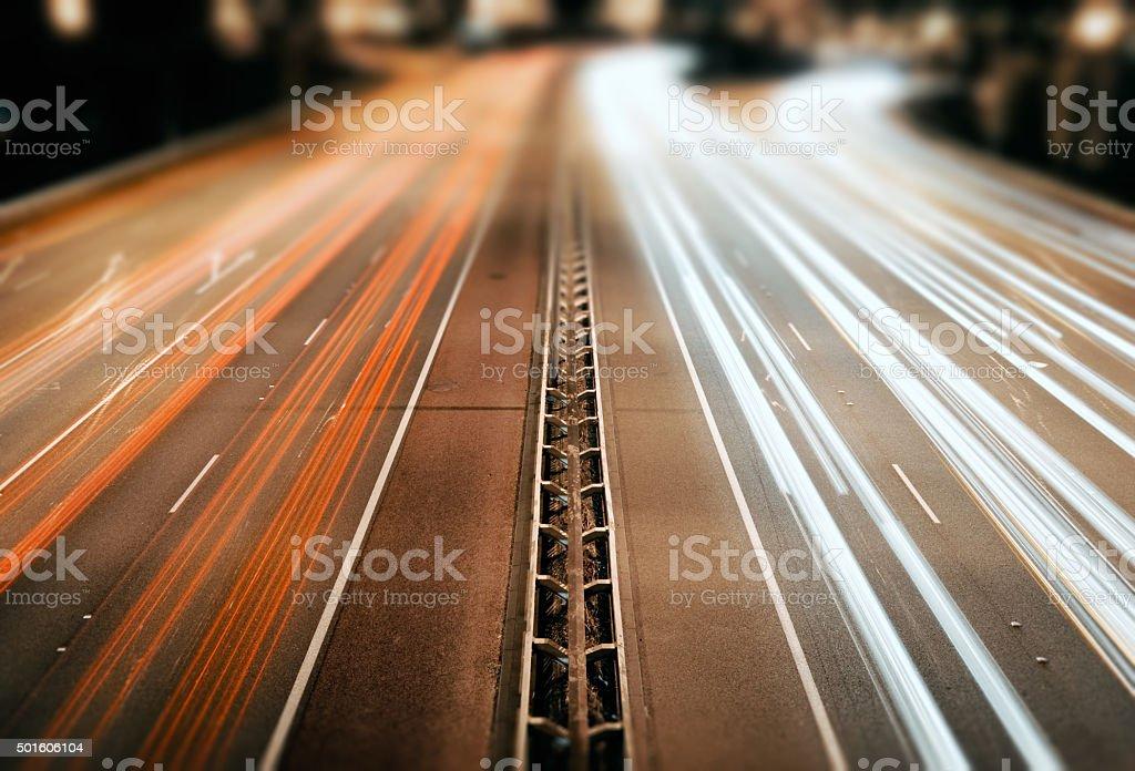 Night traffic perspective tilt/shift stock photo