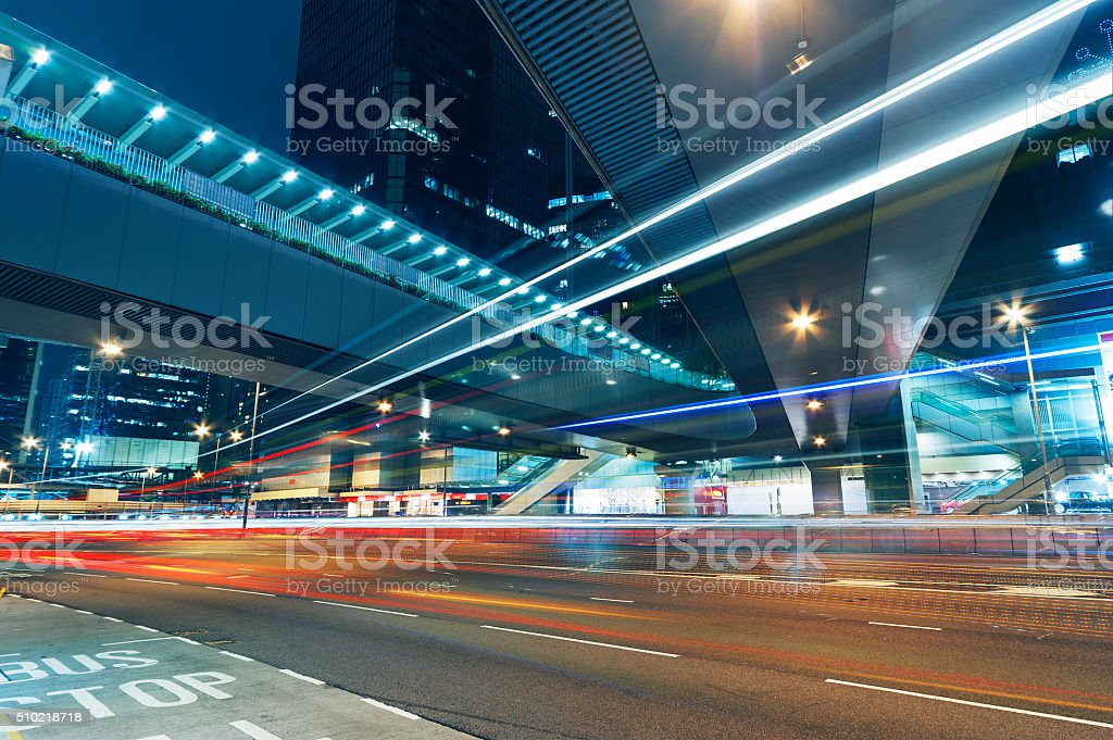 Night traffic stock photo