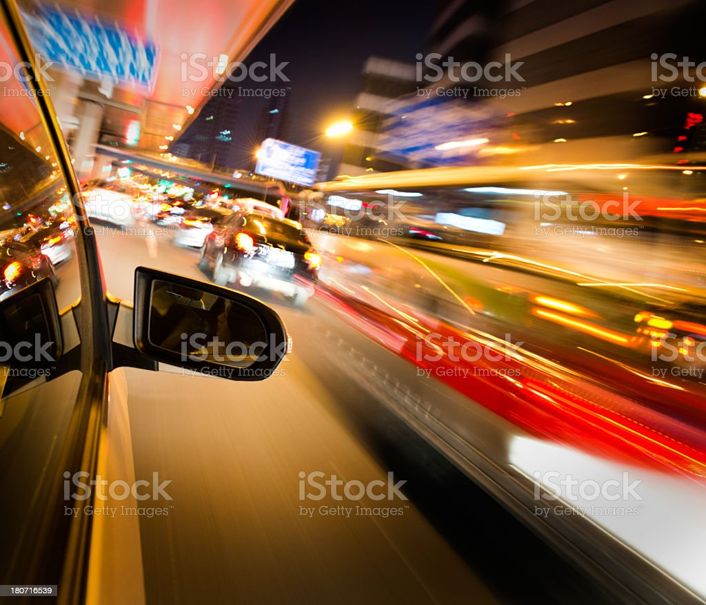Night traffic to convey driving fast royalty-free stock photo