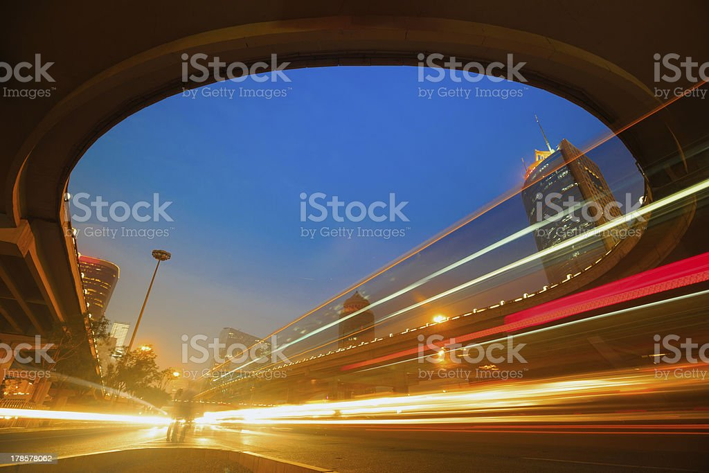 Night Traffic Trails royalty-free stock photo