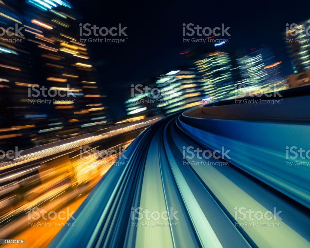 Night Train in Japan stock photo
