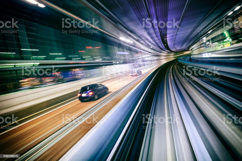Night Train in Japan stock photo