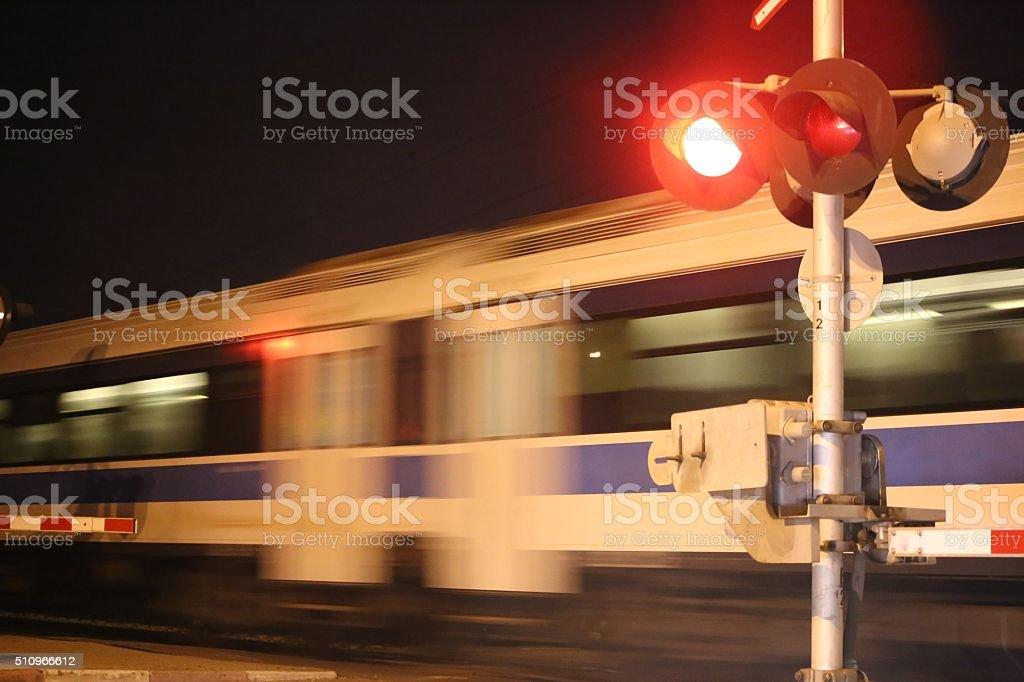 Night Train Passing Train Crossroad stock photo