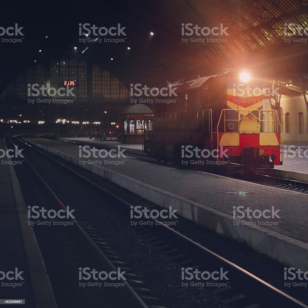 Night train station in Lviv royalty-free stock photo