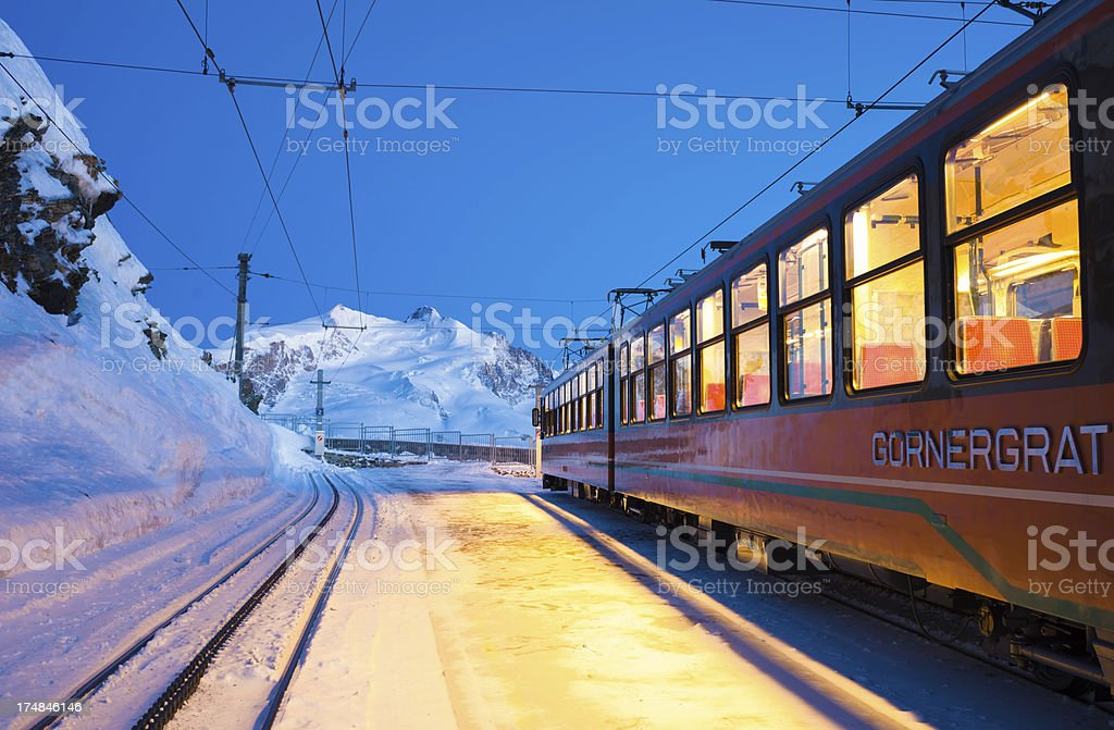 Night Train Stop on Mountain Station royalty-free stock photo