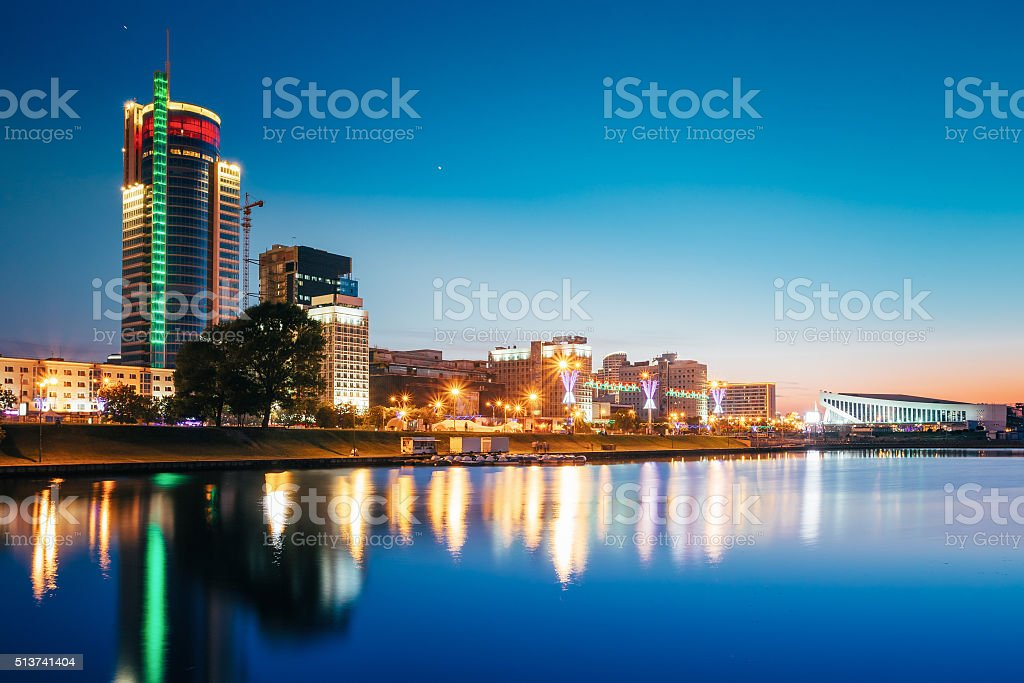 Night Urban View in Minsk, Belarus stock photo