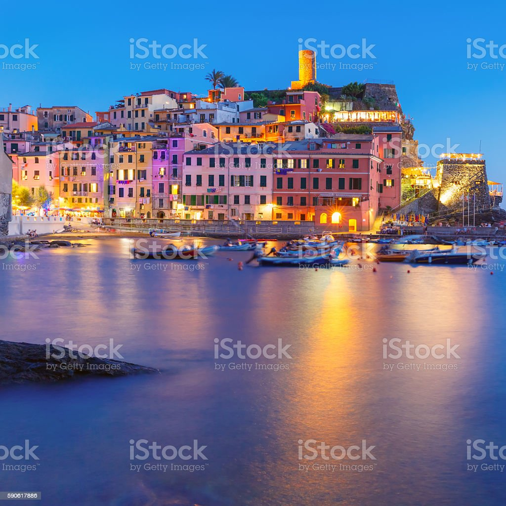 Night Vernazza, Cinque Terre, Liguria, Italy stock photo