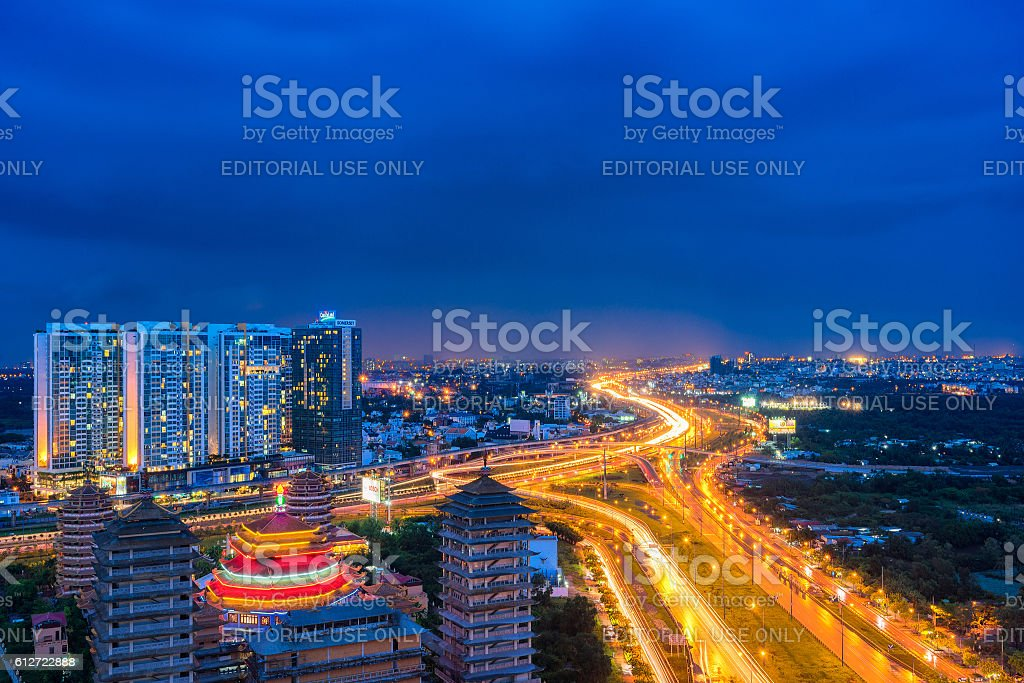 Night view at downtown of Sai Gon Cityscape stock photo