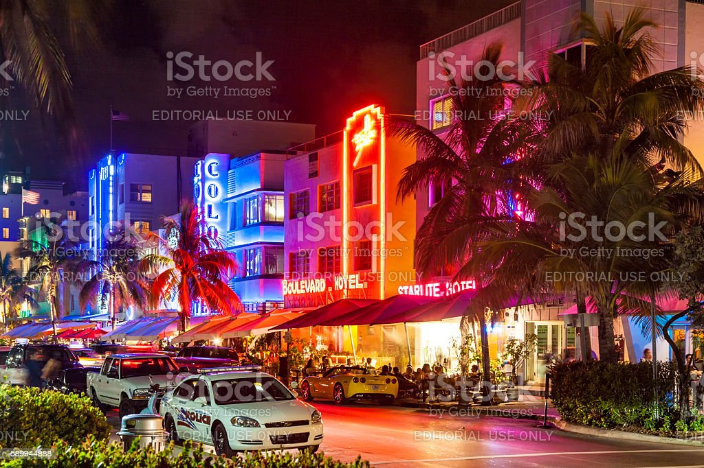 Night view at Ocean drive  in Miami Beach, Florida stock photo