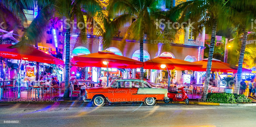 Night view at Ocean drive  in Miami Beach stock photo