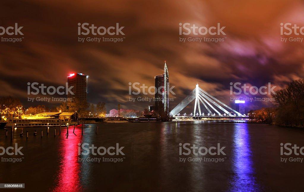 Night view at Riga, Latvia stock photo